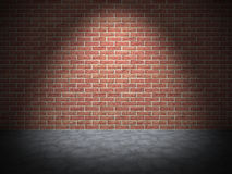 Parede de tijolo vermelho com luz do ponto Fundo do vintage de Grunge ilustração royalty free
