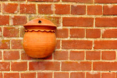 Parede de tijolo vermelho com potenciômetro de flor Imagem de Stock Royalty Free