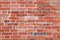 Parede de tijolo vermelho velha, fundo liso detalhado imagem de stock royalty free