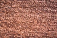 Parede de tijolo vermelho velha, fundo liso frontal fotografia de stock royalty free