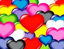 Parede de tijolos dos corações Fotos de Stock