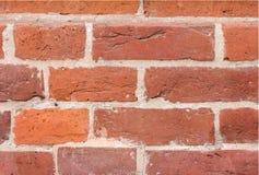 Parede de um tijolo vermelho como a textura Fundo exterior do quadro do brickwall do vintage foto de stock royalty free