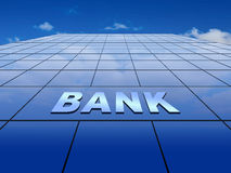 Parede de vidro azul com sinal do banco Fotografia de Stock