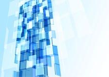 Parede de vidro azul moderna do prédio de escritórios Fotos de Stock Royalty Free