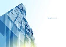 Parede de vidro azul moderna do prédio de escritórios Imagens de Stock