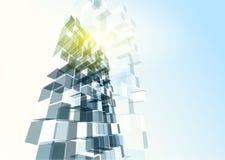 Parede de vidro azul moderna do prédio de escritórios Foto de Stock Royalty Free