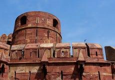 Parede do arenito vermelho do forte de Agra Imagem de Stock