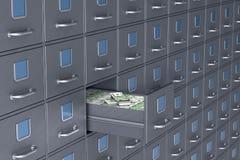 Parede do arquivo Caixa aberta com dinheiro ilustra??o 3D ilustração royalty free