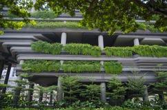 Parede do arranha-céus com os terraços das plantas verdes Fotos de Stock Royalty Free