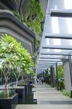 Parede do arranha-céus com os terraços das plantas verdes Fotografia de Stock