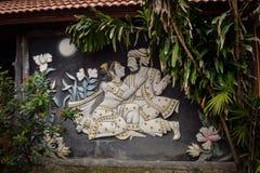 Parede do bungalow decorada com os ornamento na costa do mar Foto de Stock Royalty Free