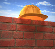 Parede do capacete de segurança Fotos de Stock Royalty Free