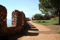 Parede do castelo de Alanya Fotos de Stock Royalty Free