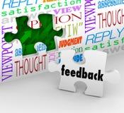 A parede do enigma do feedback exprime a avaliação do serviço ao cliente Fotografia de Stock Royalty Free