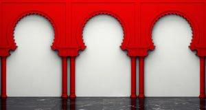 Parede do estuque e assoalho do mármore com os arcos no estilo oriental Foto de Stock Royalty Free