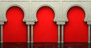 Parede do estuque e assoalho do mármore com os arcos no estilo oriental Imagens de Stock Royalty Free
