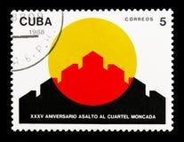 Parede do forte, 30o aniversário do serie do assalto de Moncada, Foto de Stock Royalty Free