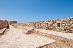 A parede do Fortezza na Creta, cidade de Rethymnon Greece Foto de Stock