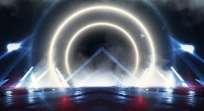Parede do fundo com linhas e raios de néon Corredor escuro do fundo com luz de néon Fundo abstrato com linhas e fulgor luz foto de stock