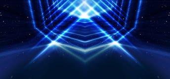Parede do fundo com linhas e raios de néon Fundo de um corredor escuro vazio com luz de néon Fundo abstrato com linhas e ilustração stock