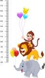 Parede do medidor com desenhos animados alegres engraçados dos animais ilustração do vetor