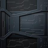 Parede do Scifi parede e circuitos da fibra do carbono Fundo do metal Imagem de Stock Royalty Free