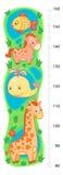 Parede do Stadiometer ou medidor da altura de 80 a 160 centímetros com girafa e baleia, cavalo, peixe, mar, lago Imagem de Stock