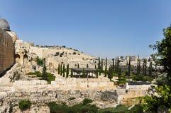 Parede do sul de Temple Mount, canto do sudoeste no Jerusalém fotografia de stock