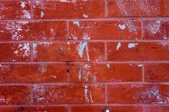 Parede do tijolo vermelho e do almofariz com Gray Paint Splatters Background Texture azul Fotografia de Stock