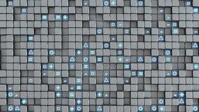 A parede dos cubos e os símbolos aleatórios 3D abstrato rendem Imagens de Stock