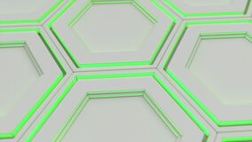Parede dos hexágonos brancos com fulgor verde ilustração royalty free