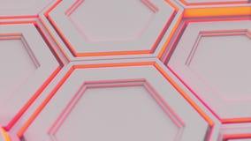 Parede dos hexágonos brancos com fulgor vermelho video estoque