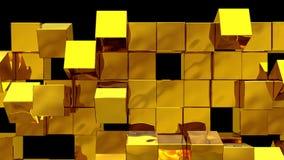 A parede dourada dos cubos cai distante ilustração royalty free