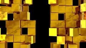 A parede dourada dos cubos divide-se ilustração royalty free