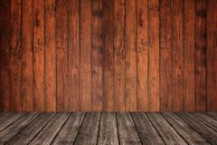 Parede e assoalho de madeira na opinião de perspectiva, fundo do grunge FO imagens de stock royalty free