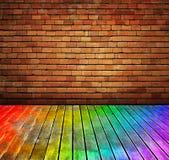 A parede e a madeira de tijolo do vintage pavimentam o interio da textura Fotos de Stock Royalty Free