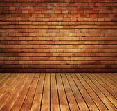 A parede e a madeira de tijolo do vintage pavimentam o interior da textura Imagem de Stock Royalty Free