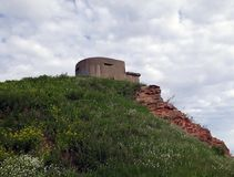 Parede e torre arruinadas com as ameias no forte Constantim fotografia de stock royalty free