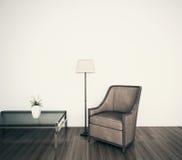 Parede em branco da face interior moderna clássica da poltrona Imagens de Stock Royalty Free