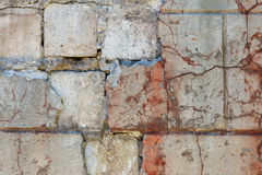 Parede em parte danificada velha do estuque Tiro próximo Fotos de Stock Royalty Free