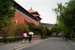 Parede exterior da Cidade Proibida, Pequim imagem de stock