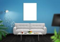 Parede isolada da lona de arte da parede Interior da sala de visitas com sofá, lâmpada, tabela ilustração royalty free