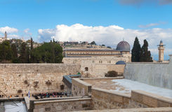 Parede lamentando e Temple Mount após a neve Imagem de Stock Royalty Free