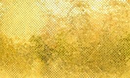 Parede lustrosa da telha de mosaico do ouro, fundo da textura Imagens de Stock