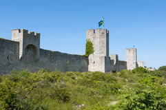A parede medieval da cidade de Visby Fotos de Stock Royalty Free