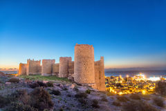 Parede medieval de Alcazaba no monte, Almeria fotografia de stock