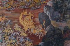 Parede mural de Tailândia no templo Imagens de Stock Royalty Free