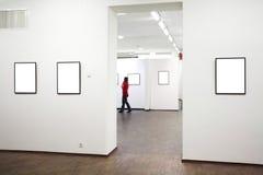 Parede no museu com frames Imagem de Stock Royalty Free