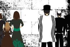 Parede ocidental, Jerusalem A parede lamentando Hasidim judaico religioso nos chapéus e o talith e as mulheres rezam Vetor preto  ilustração royalty free