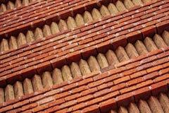 Parede Ornamented dos tijolos vermelhos e amarelos Fotos de Stock